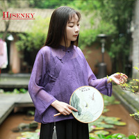 Hisenky 2019 Summer Chinese Style Blouse Women Mandarin Collar Three Quarter Sleeve Chiffon Shirt Tops Tang Suit Retro Blouses