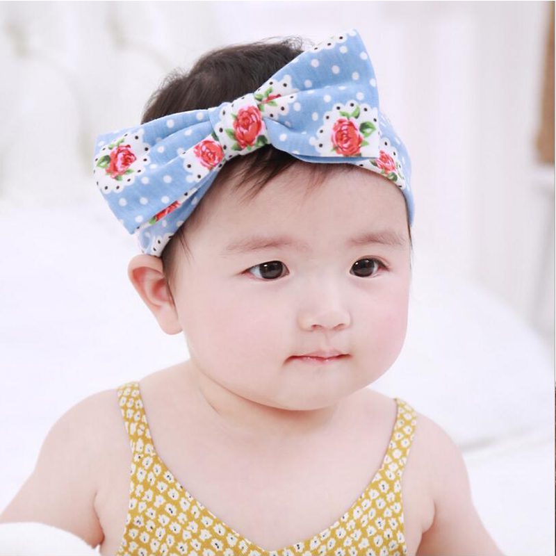 TWDVS Baby Big Bow Knot Flower Headband Kids Cotton Wrap Newborn Elastic Hair Band Girls Ring Hair Accessories W246  twdvs flower girls bow knot headband girls flower head bands hair accessories 2017 hair bands style hot sell headwearw077
