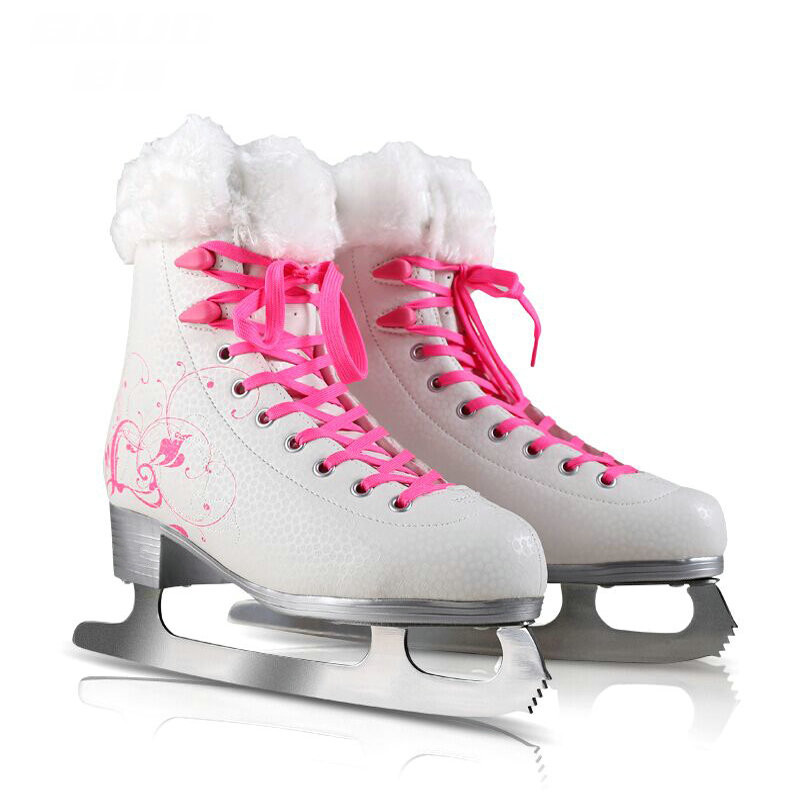 Factory Outlet Girls white figure skate shoes, Women ice skates with warm short plush topline, PVC sole girls figure skate shoes