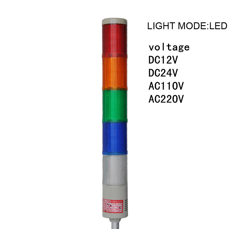 LTA-505J-5 Signal Tower Light 5 Layers DC12V/24V AC110V/220V Buzzer 90dB Red/Yellow/Green/Blue/White Alarm Light Buzzer