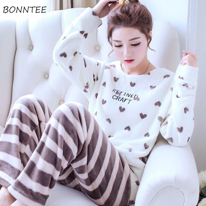 Pajama     Sets   Women Coloful Cartoon Printing Long Sleeve Full Length O-Neck   Pajamas   Womens Winter Home Sleepwear High Quality Chic