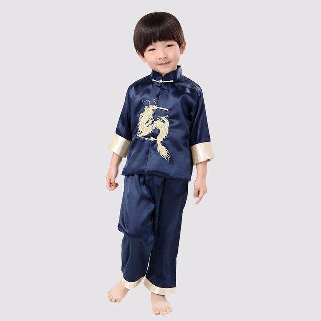 f8a804e4e812f Jolis enfants à manches longues broder Dragon Costume Style chinois garçons  Kung Fu définit veste +