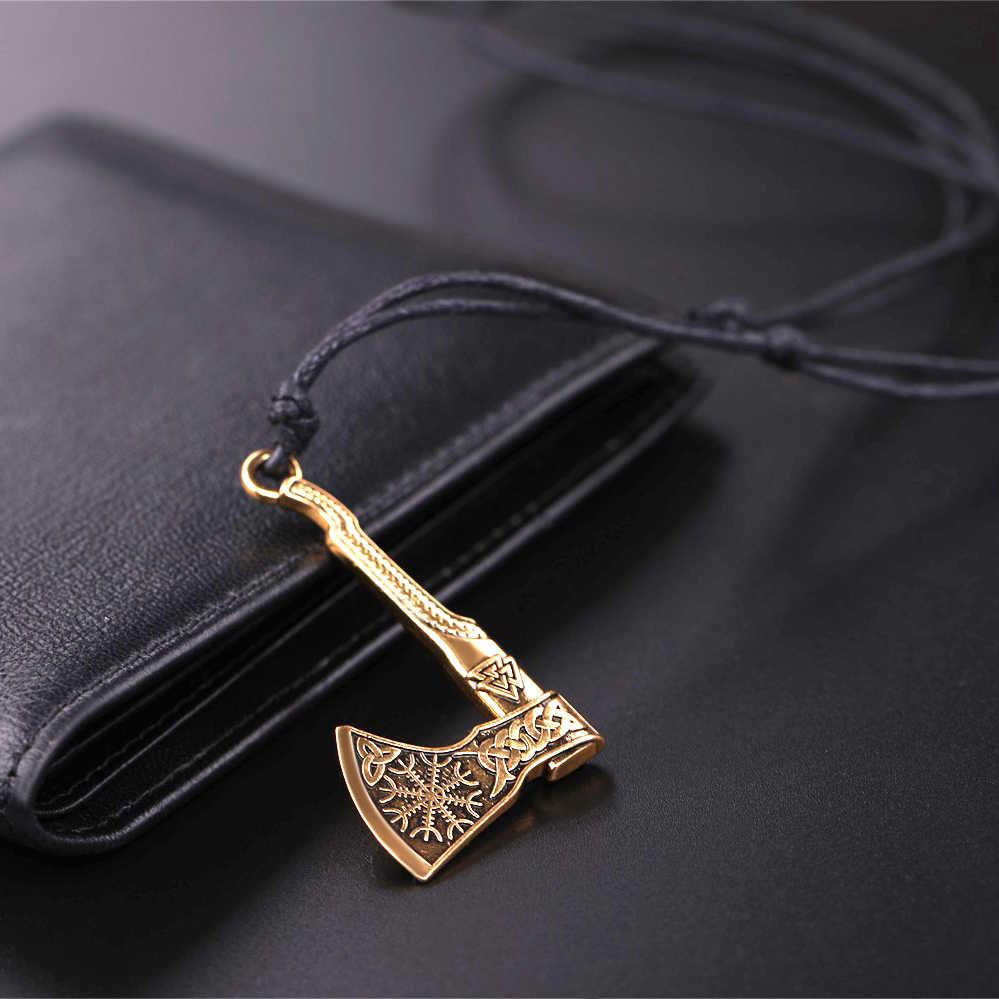 My shape 2 цвета Панк Амулет ожерелье с подвеской топориком Веревка Цепь компас скандинавские Викинги Vegvisir и Raven персонализированные ювелирные изделия