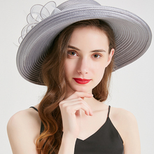 New Trendy Summer Hats For Women Floral Wedding Fedoras Satin fabric braid Derby Hat Wide Brim Sun hat Beach Party Church Cap