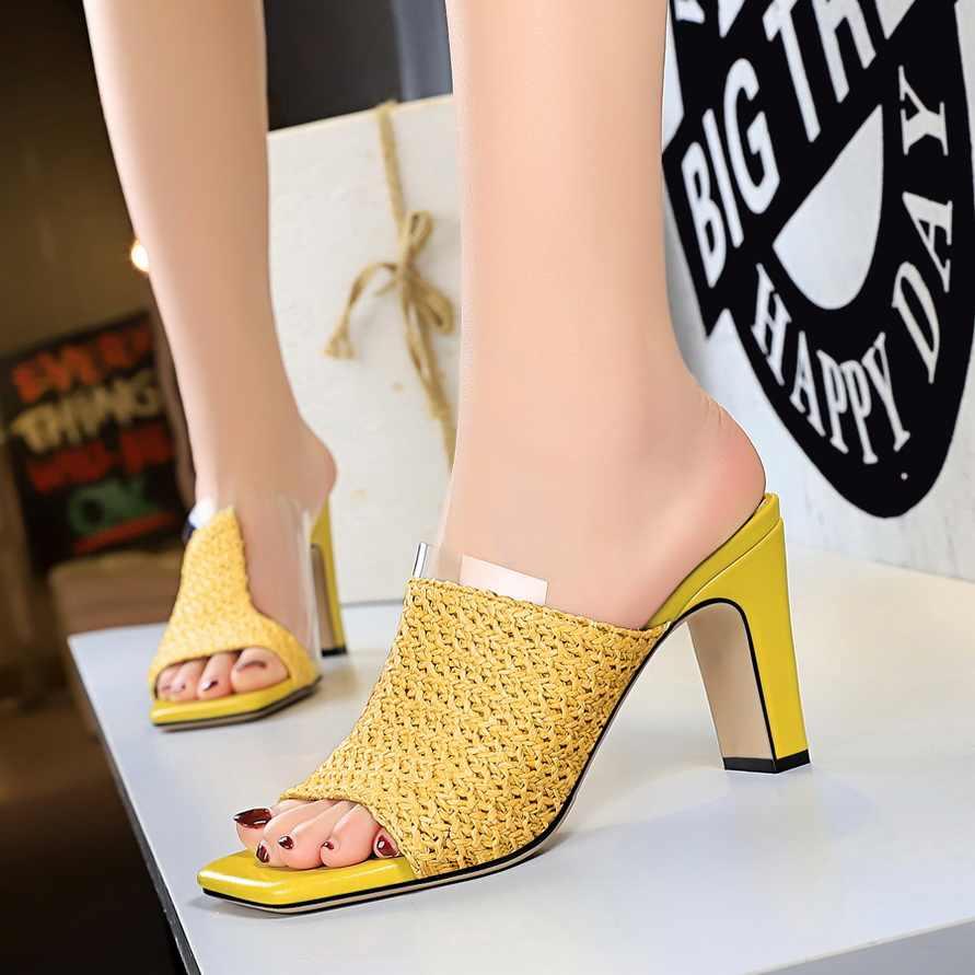Plardin الأساسية البغال واضحة عالية الكعب مضخات النساء أحذية صندل كاجوال السيدات النعال بوهيميا الحياكة مربع zapatos دي موهير