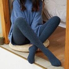 Inverno cashmere bling collants algodão grosso meia calça alta elástica calças femininas mais tamanho collant elástico meias de meia calça