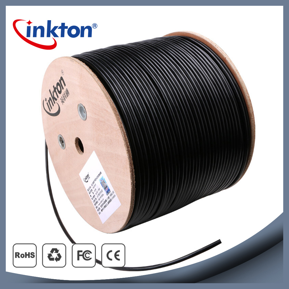 Inkton High Quality Outdoor Waterproof UTP Cable Cat5e Ethernet Rj45 Black Roll Core 8 Cores Network Wire 0.5mm CCA SGS 1m/20m