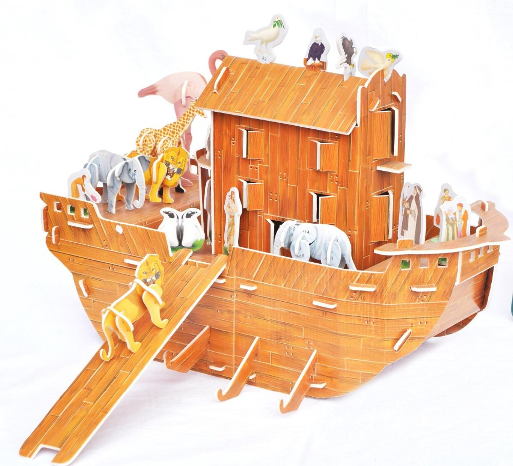 Candice Guo Building Model Toy Cartoon Story 3D DIY Puzzle Paper Noah's Ark Animal Boat Ship Birthday Gift Christmas Present 1pc
