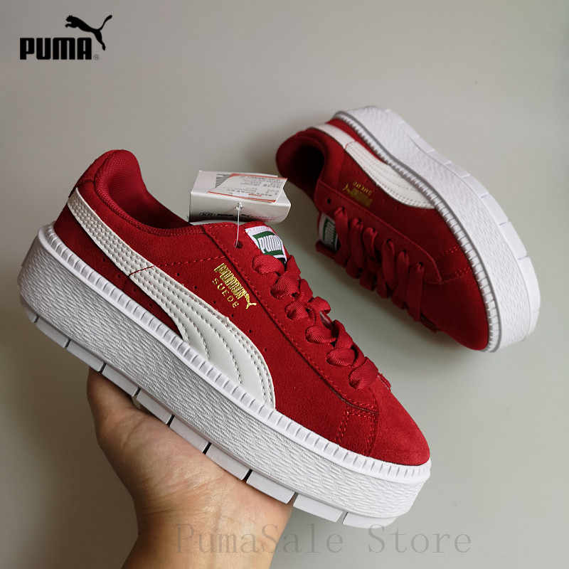 timeless design 9a858 956f3 2018 PUMA SUEDE Platform Trace 367980-03-02-01 Women Badminton Shoes  Rihanna 4 Generation Thick Bottom Sneakers Size 35.5-40