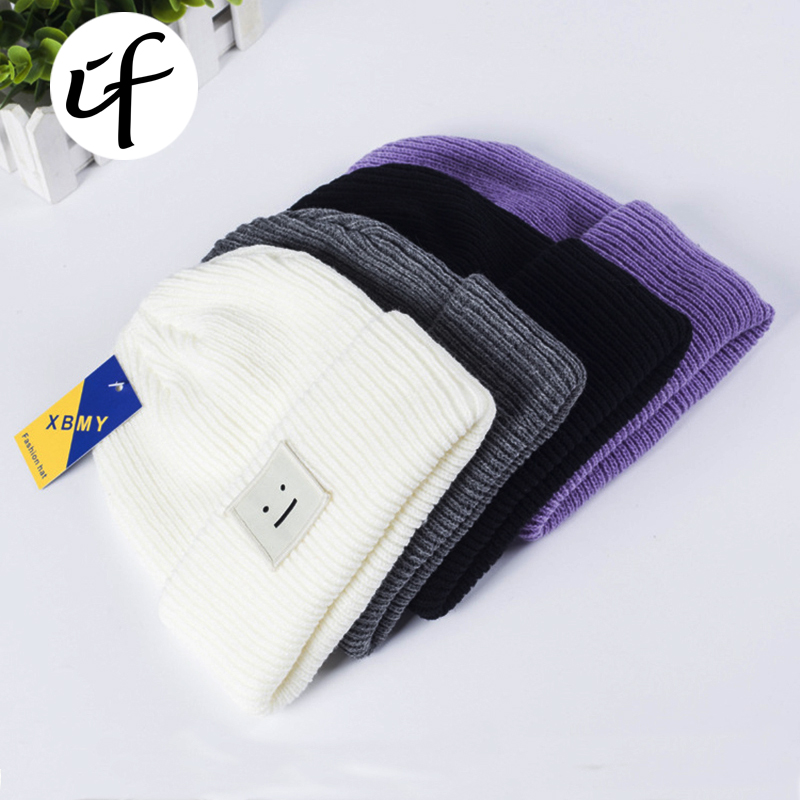 Simple Low-key Smile Knit Hat for Women girls men boys Embroidery Knitted Hats Female Spring Autumn Winter Beanies Caps gorro fine three dimensional five star embroidery hat for women girls men boys knitted hats female autumn winter beanies skullies caps
