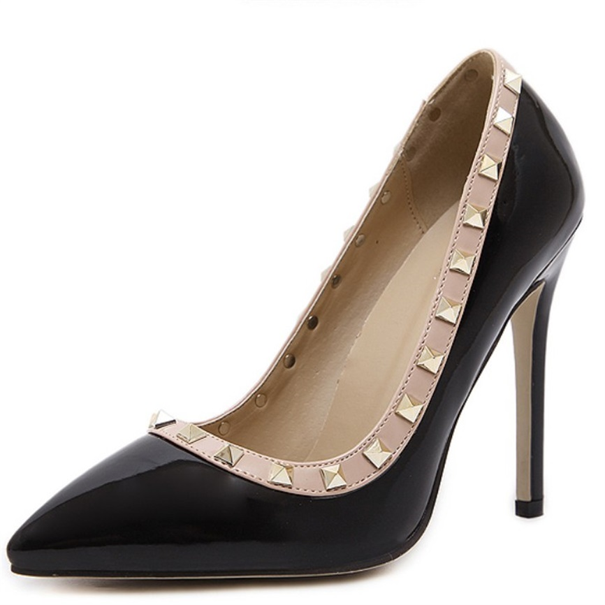 11cm Extreme Thin Heel Shoes Woman High Heels Pumps Black Shoes Woman Sexy Pointed Toe High Heels Rivets Shoes Women Pumps 11cm