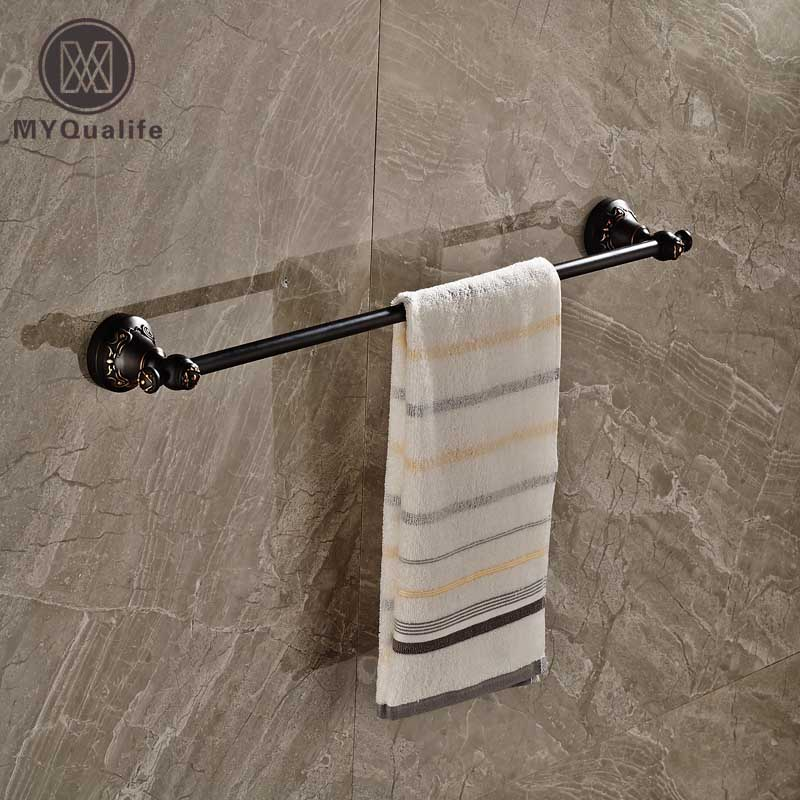 Luxury Wall Mount Single Towel Bar Brass Bathroom Bath Towel Rack Oil Rubbed Bronze Finish free ship beauty oil rubbed bronze bath towel rings soild brass towel bracket