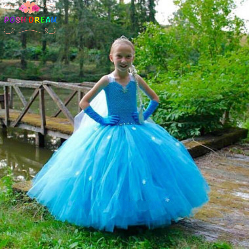 POSH DREAM The Snow Queen Elsa Inspired Princess Dress Blue Elsa Dress with Cap for Cosplay Party Princess Kids Girl Clothes D