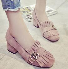 2016 new fashion tassel Women Pumps Thick with Shoes Woman Vintage Round head  With low Wedding women Shoes L107