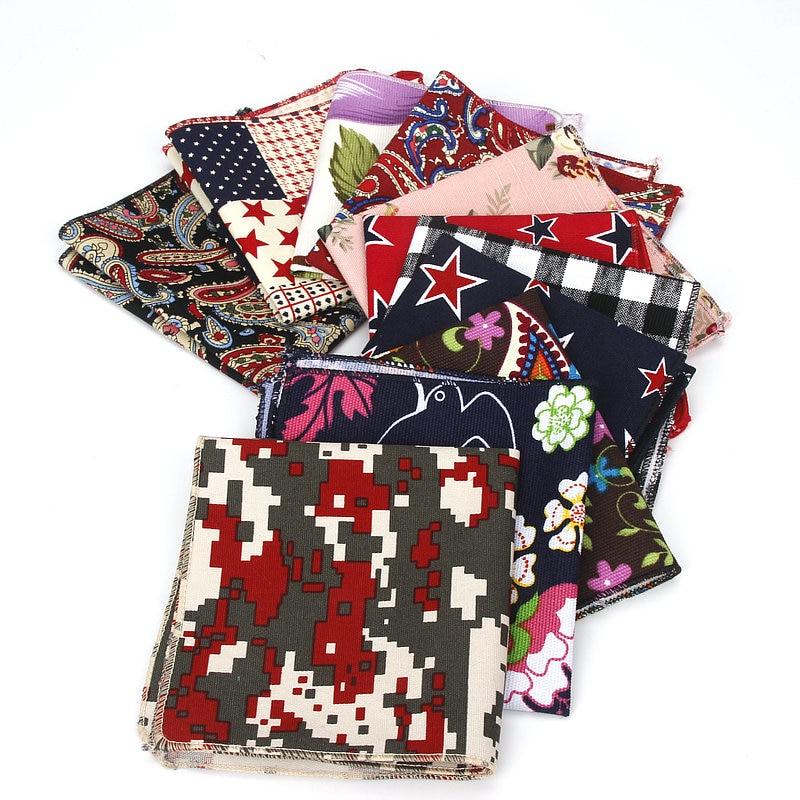 Brand New Men's Flower Hankerchief Scarves Vintage Linen Paisley Hankies For Men Casual Suits Pocket Square Handkerchief 22*22cm