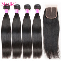 Mealid Peruvian Hair Bundles With Closure Straight Hair 2 3 4 Bundles With Closure Non remy Human Hair Bundles With Lace Closure