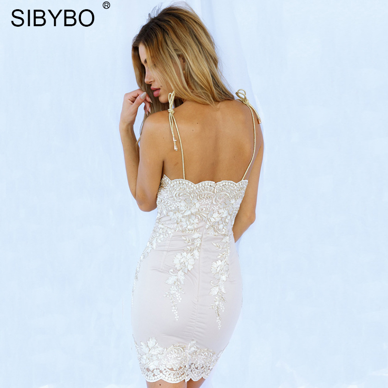 Sibybo Lace Dress Aliexpress.com : Buy Sibybo Floral Embroidery Lace Dress Women Spaghetti  Strap Sleeveless Mini Cotton Dresses Women Backless Sexy Party Dresses from  ...