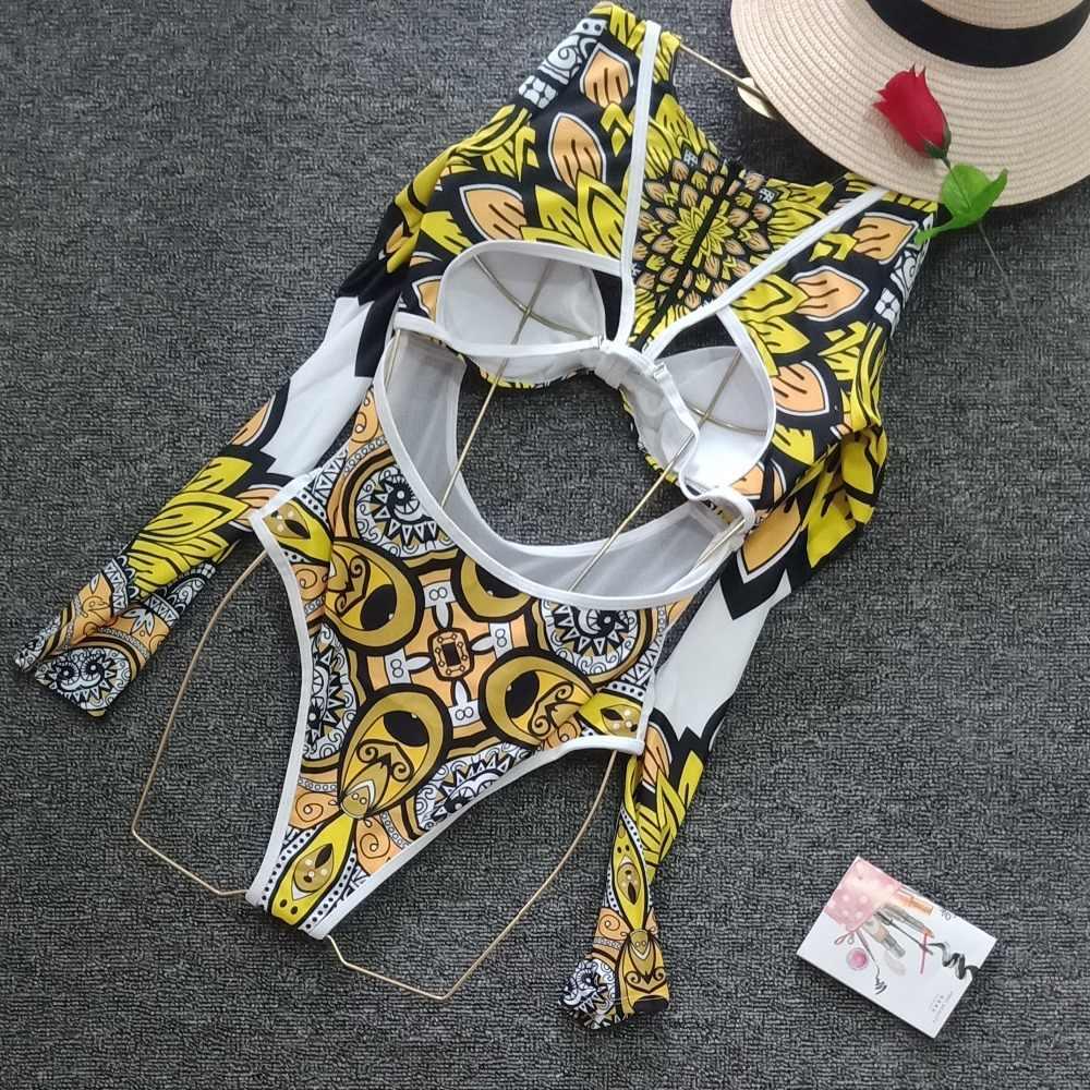 Купальник на молнии с вырезами и длинным рукавом в африканском стиле, Женский цельный купальник, монокини, стринги, купальный костюм, пуш-ап, трикини, сетчатый купальник