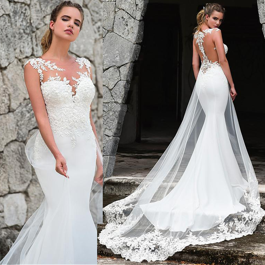 Fashionable Sleeveless Jewel Neckline Mermaid Wedding Dress With Lace Appliques Train Bridal Dress Illusion Back Wedding Gowns