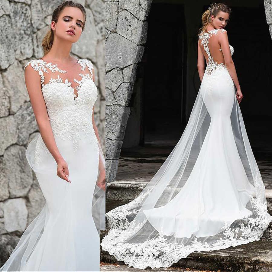 Moda kolsuz Jewel boyun çizgisi Mermaid düğün elbisesi dantel aplikler ile tren gelin elbise Illusion geri gelinlikler