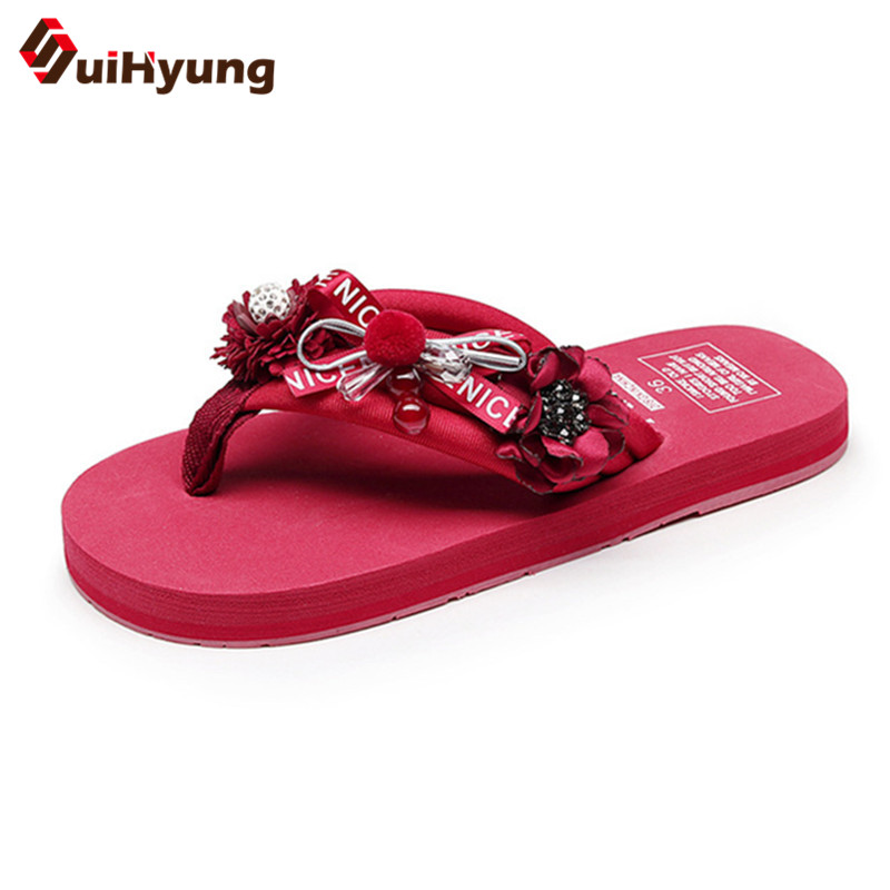 Suihyung New Women Summer Slippers Fashion Design DIY Flowers Beach Slippers Flip Flops Outside Flat Sandals Female Floral Flats suihyung design new women and men summer flat shoes hit color breathable hollow beach slippers flips non slip unisex sandals