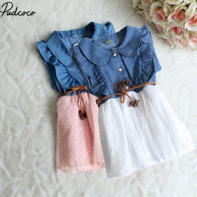 0cb0a308bb8c4 Bébé fille enfants princesse fête robe Pathhwork été Cool vêtements à volants  vêtements enfant Denim Jeans