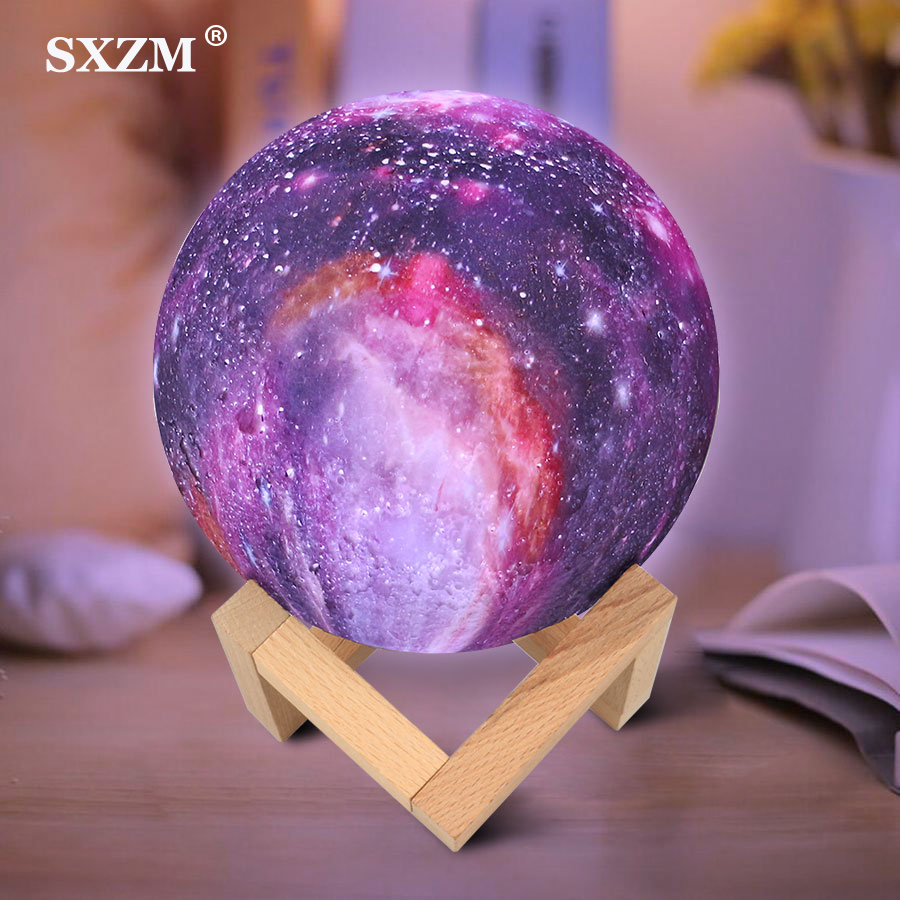 7 Colors USB 3D Print Star Galaxy Moon Lamp Changeable Touch Home Decor Creative Gift Led Night Light Lamp Dropshipping