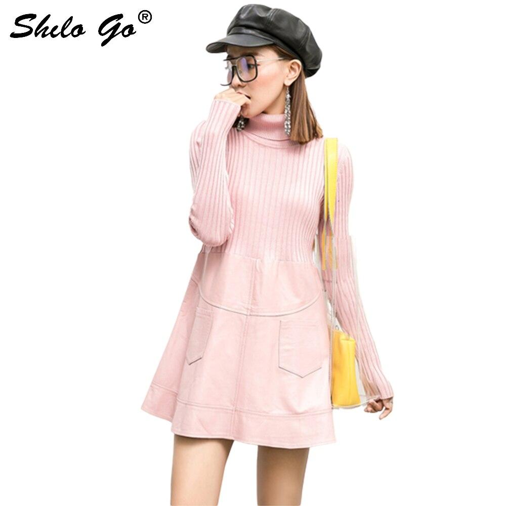 Robe en cuir rose femmes printemps Streetwear en peau de mouton robe en cuir véritable col truttcou tricoté à manches longues robe femme