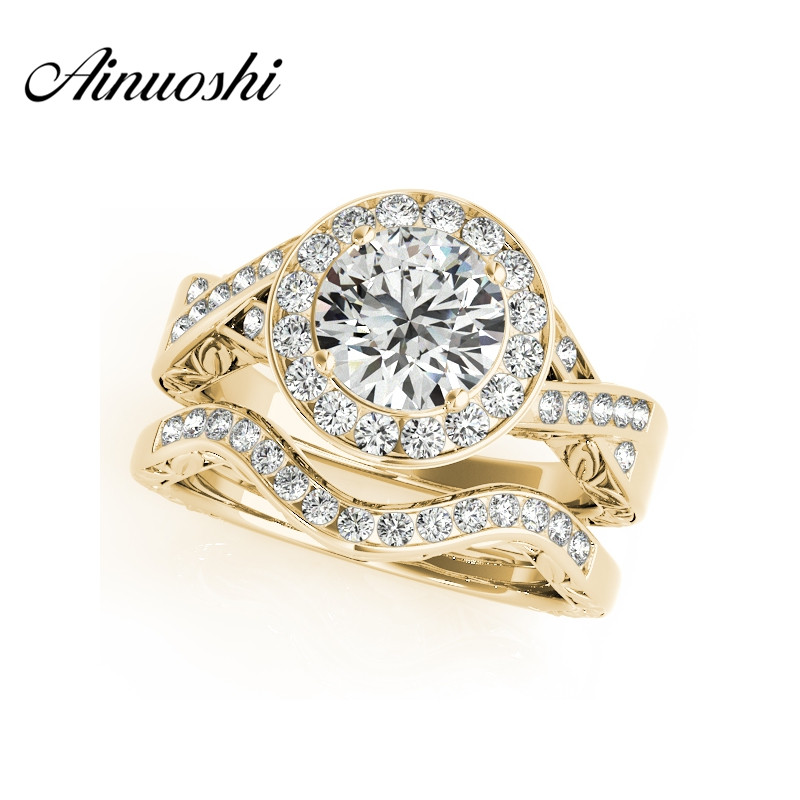 AINUOSHI Classic 925 Sterling Silver Yellow Gold Color Women Ring Sets Sona 1 5 Carat Round