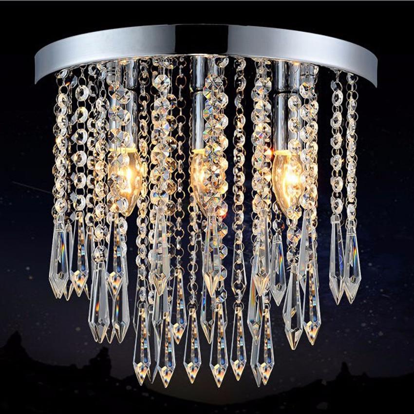 Moderne E14 led-lampe kristall deckenleuchte home deco gang nadel form kristall chrom eisenbasis deckenleuchte