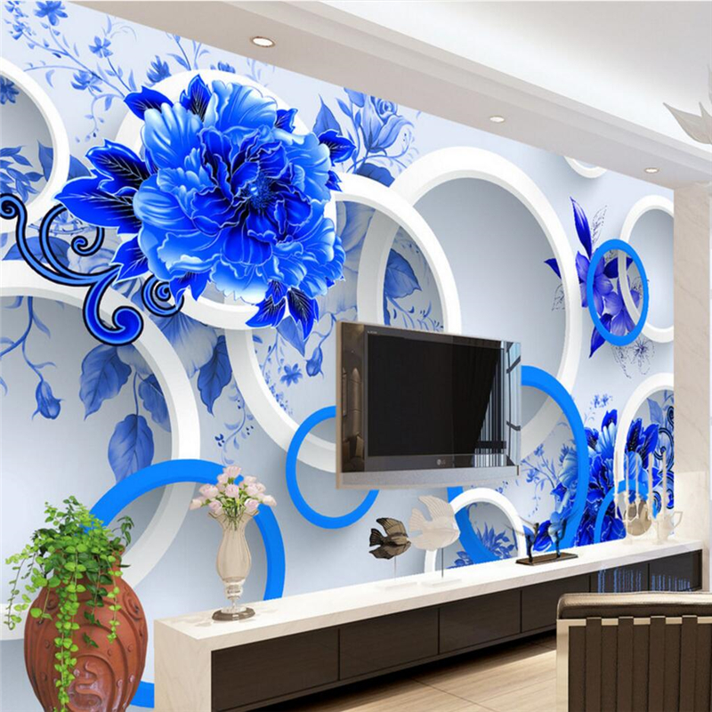 beibehang Custom Photo Wallpaper Decoration Fragrance Blue and White Fashion 3D Backdrop Wall papel de parede 3d para sala atac