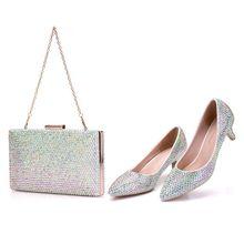 """קריסטל מלכת נשים נעלי עקבים גבוהים הבוהן מחודדת משאבות נעלי חתונה גביש יהלומים מלאכותיים 5 ס""""מ עם שקיות התאמה ארנק כלה נעלי"""