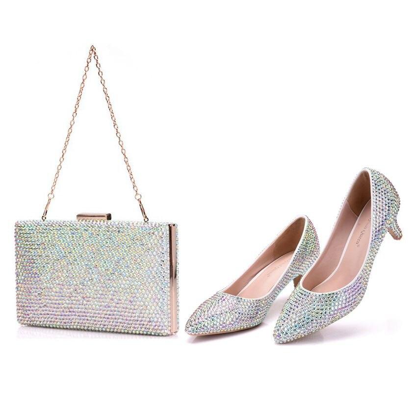 Cristal reine femmes pompes cristal mariage chaussures bout pointu talons hauts chaussures strass 5 CM avec sacs assortis mariée sac à main chaussures