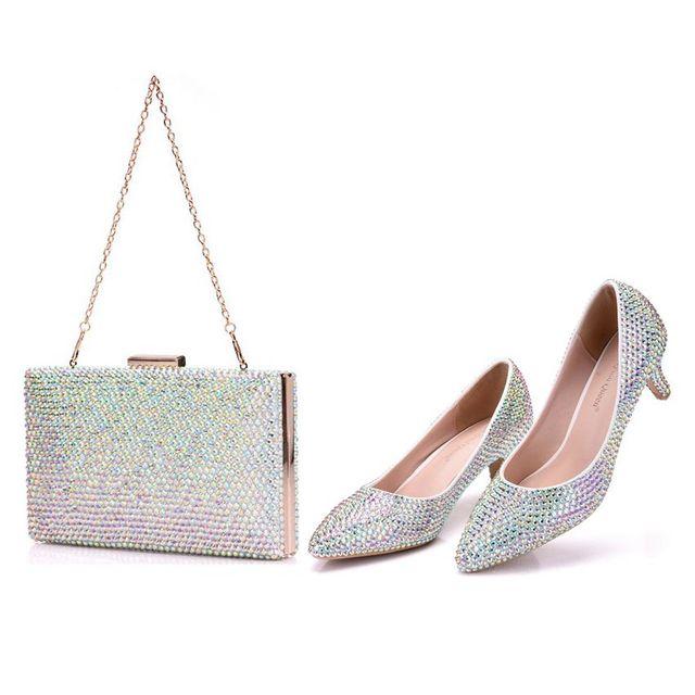 Crystal Queen Vrouwen Pompen Kristal Bruiloft Schoenen Puntschoen Hoge Hakken Schoenen Strass 5 CM Met Bijpassende Tassen Bruid Purse schoenen