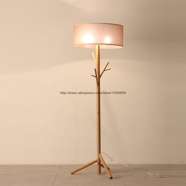 Modern Tree Branch Wood Floor Lamps Lights Bedroom Coat Rack Grey ...