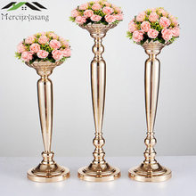 10PCS/LOT Metal Gold Candle Holders Road Lead Table Centerpiece Stand Pillar Candlestick For Wedding Candelabra Flowers Vases 66(China)