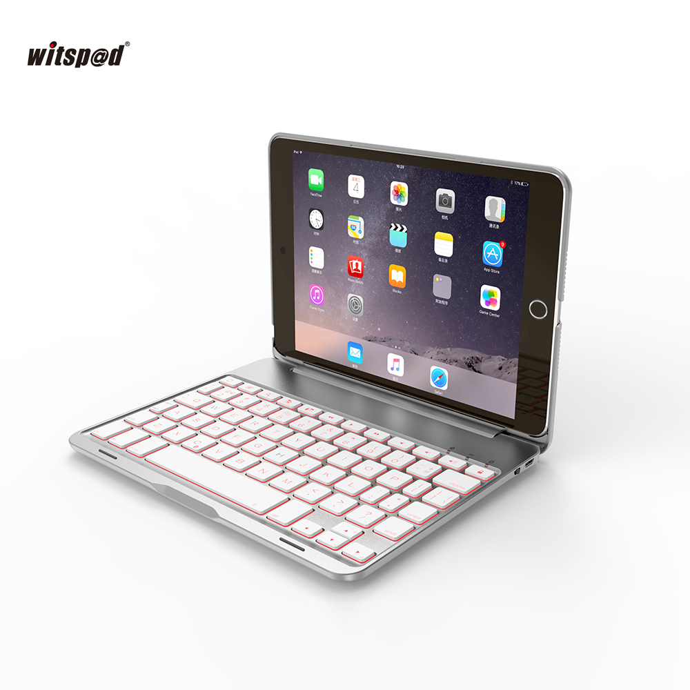 witsp@d Luxury Bluetooth Keyboard Case For IPAD MINI 4 ,7 Colors LED Backlight wireless keyboard with Aluminum Body+free gift барбара картленд на парусах мечты