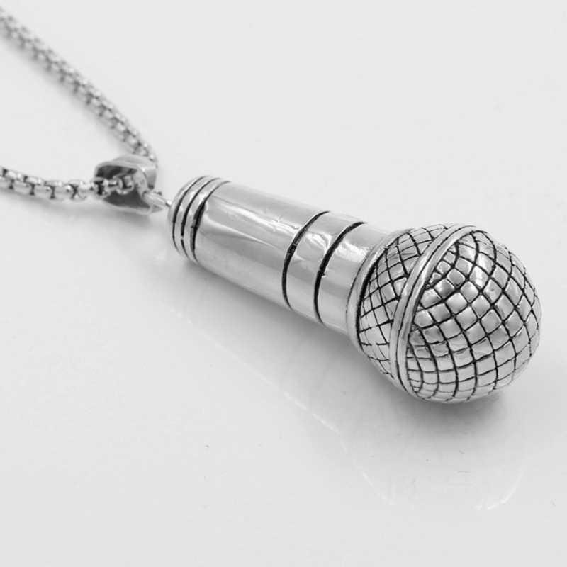 Новый цвет серебристый, золотой цвет большой микрофон для мужчин подвеска, ожерелье панк голос из нержавеющая сталь титан Женщин цепочки и ожерелья