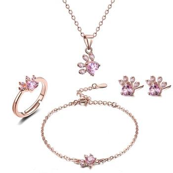 4 PCS Cat Paw Jewelry Set