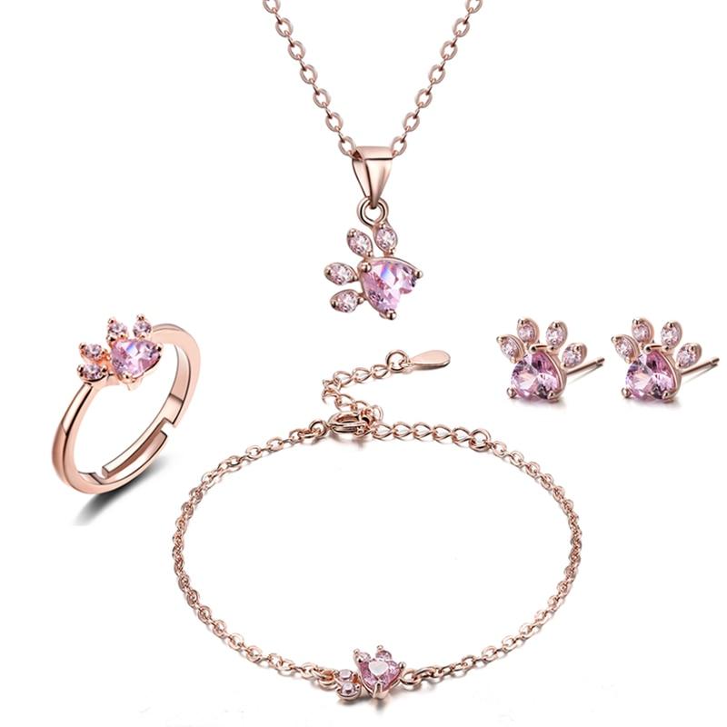 4 stücke Neue Mode Katze Bär Hund Pfote Ring für Frauen Schmuck Sets Weiß CZ Stein Silber Gold Ringe Halskette armband Ohrring Set