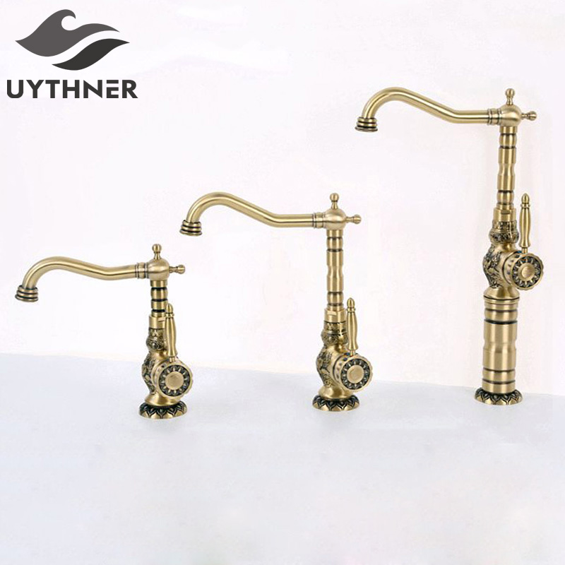 Uythner European Full Copper Antique Brass Bathroom Basin Faucet Mixer Tap Single Hole Single Handle Hot and Cold Faucets