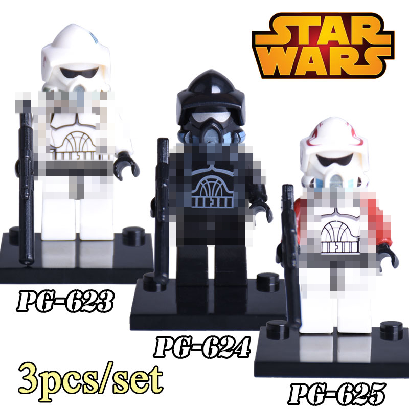 3pcs/set Star Wars diy figures Shadow ARF Trooper White Black Soldier Building Blocks Bricks Kids Toys For Birthday Xmas Gift