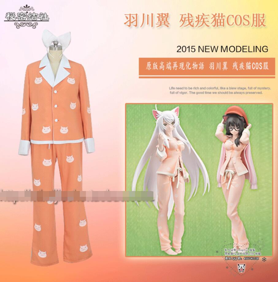 Anime Bakemonogatari Cos Hanekawa Tsubasa Disabled cat Cartoon Female Woman Halloween Cosplay Costume