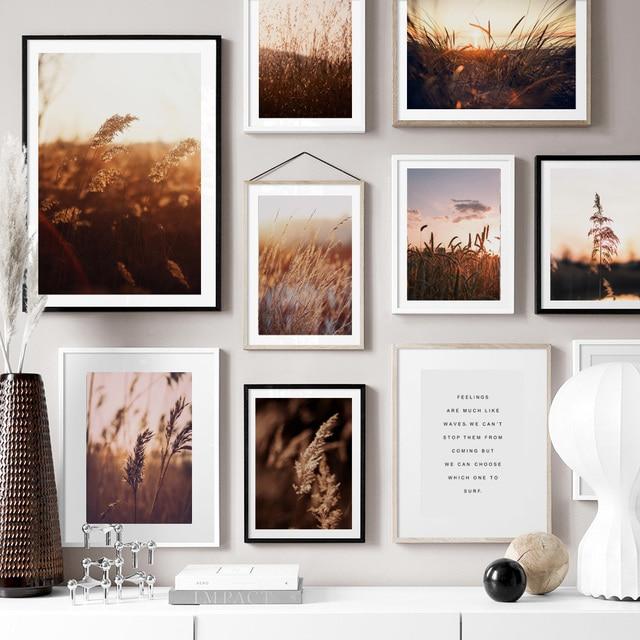 농장 공장 밀 잎 풍경 따옴표 벽 아트 캔버스 회화 북유럽 포스터와 인쇄 벽 장식 거실 장식