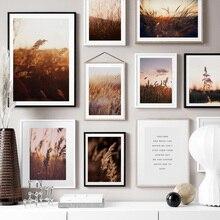 Farm Impianto di Grano Lascia Paesaggio Citazioni di Arte Della Parete della Tela di Canapa Pittura Nordic Poster E Stampe di Immagini A Parete Per Living Room Decor