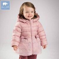 DB4654 dave bella winter baby girls down jacket children white duck down padding coat kids hooded outerwear