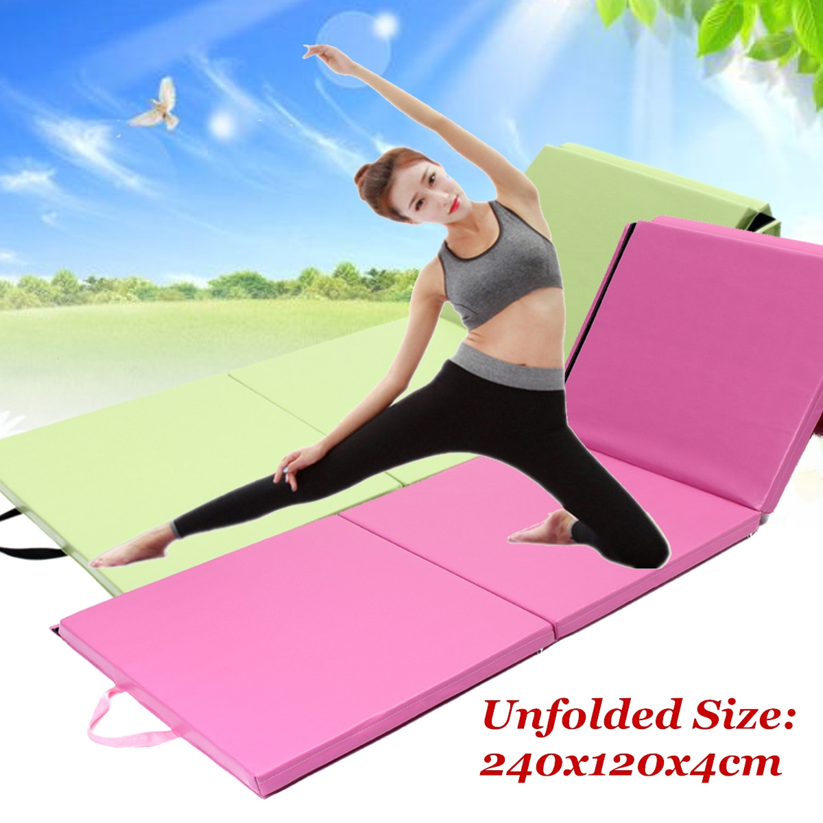 240x120cm PU Leather Foldable Gym Mat Yoga Tumbling Floor Sport Training Pad Exercise Fitness Cushion Gymnastics Accessories