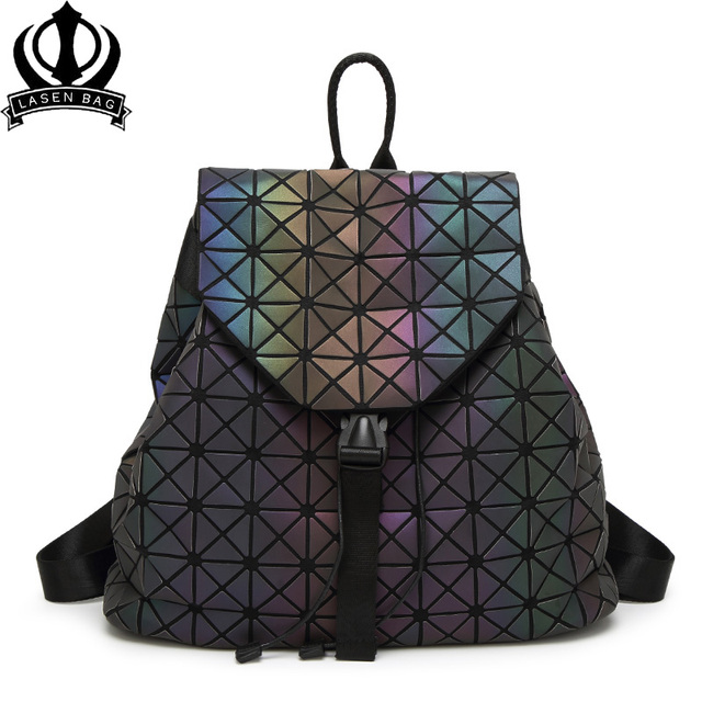 d21215954f Lasen bag Luminous Backpack Diamond Lattice Bag Travel Geometric Women  Fashion Bag Teenage Girl School Noctilucent bao bag