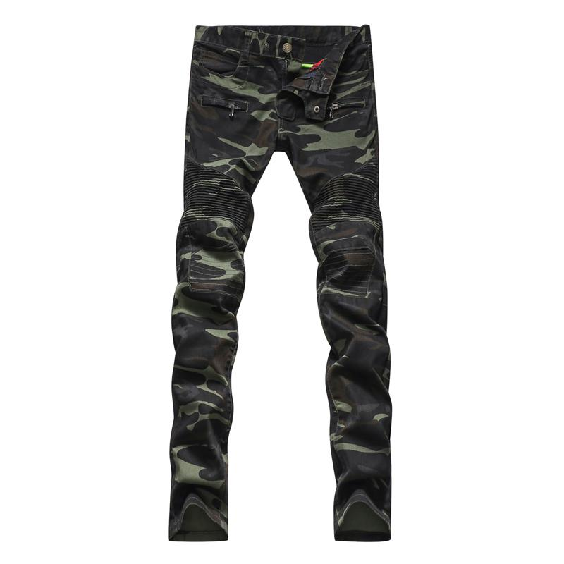 Spring Men's Casual Camouflage Pockets Skinny Biker Jeans Male Zippers Military Style Army Green Slim Denim Pants Long Trousers