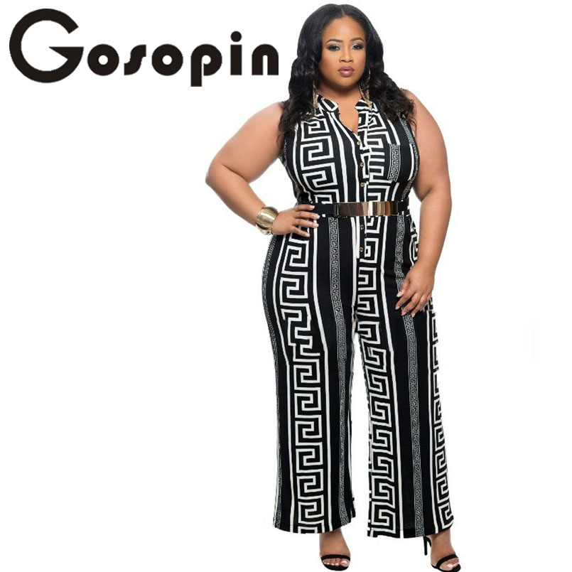 Gosopin Apparel Store Gosopin Brand New 2017 Wide Leg Jumpsuit Overalls Fashion Plus Size Black Print Gold Belted Jumpsuit  LC64021 Long Trousers